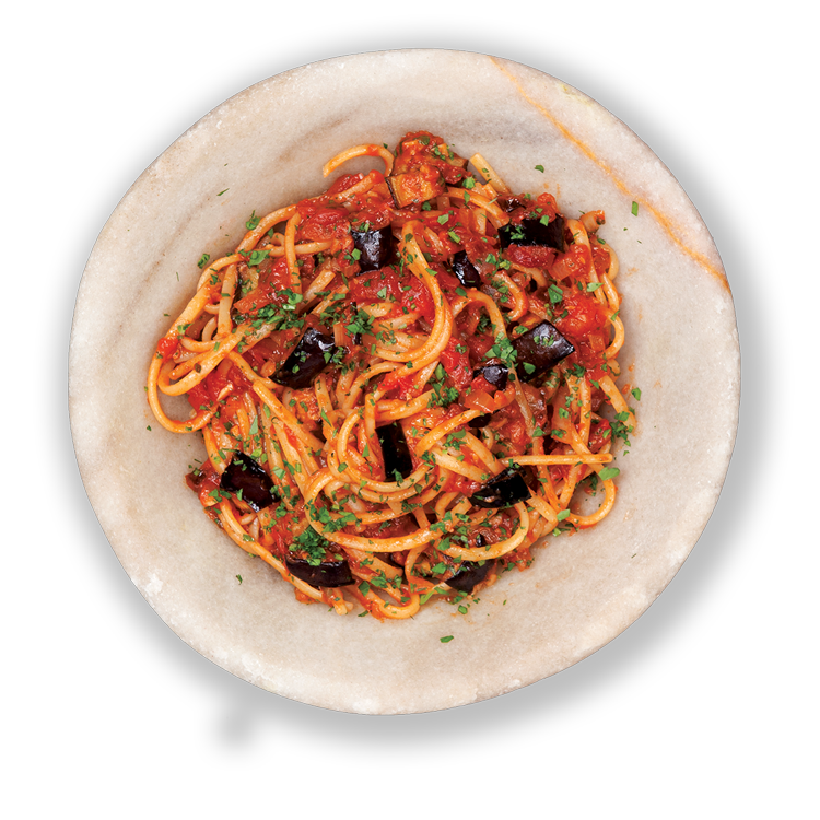 Roasted Eggplant Linguine with Chili & Sun-Dried Tomatoes