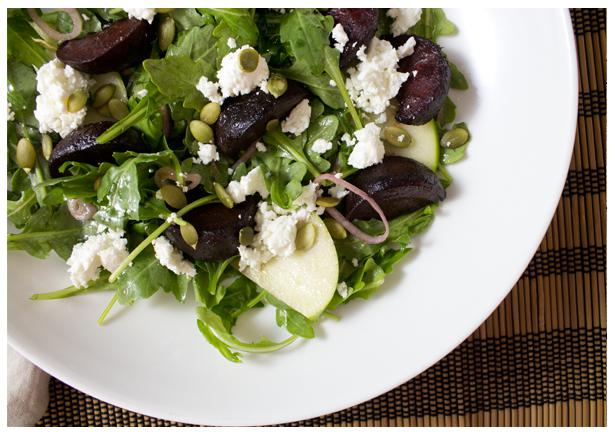 Roasted Beet Salad with Apples and Feta Cheese